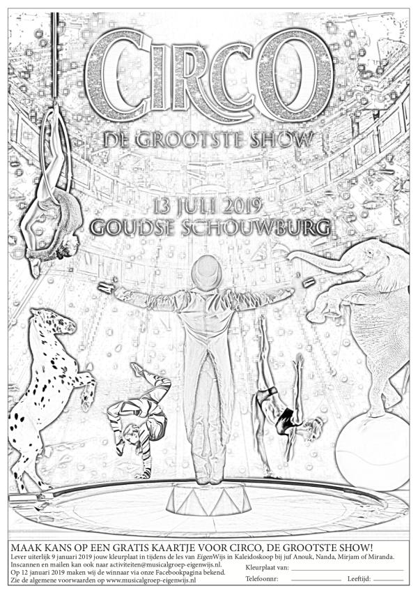 win actie familiemusical Circo kleurplaat